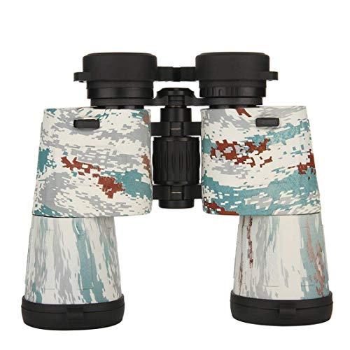 ZQJSC 10x50 Binoculares Profesionales de Alta Potencia para Adultos Camo Binocular para observación de Aves Telescopio al Aire Libre para Acampar telescopio (Color : White)