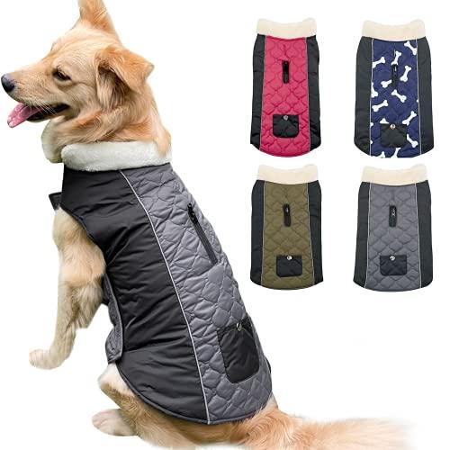 Etechydra Hundemantel Jacke, wasserdichte Wendbare Winter Hundekleidung, Verstellbare Reflektierende Hundejacke Mantel mit Fleecekragen Warme Mäntel für Kleine Mittel Große Hundeweste Grau - XS