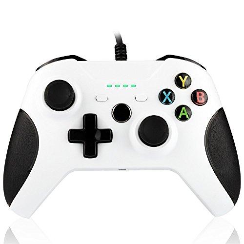 Kidoo Controller für Xbox One 1.8m Wired Controller Gamepad mit Dual Vibration 4 LED Anzeigen 3.5mm Audio Buchse für XBox One Slim und Windows PC