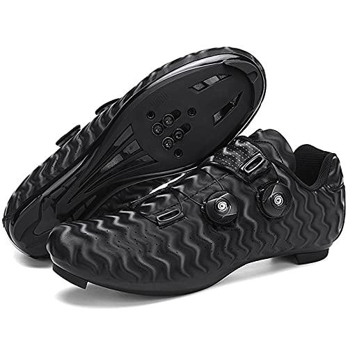 YQSHOES Zapatillas Ciclismo para Hombre Zapatillas Bicicleta Carretera Compatibles con Zapatillas SPD y Delta Bike,Negro,46EU/10.5UK/11US