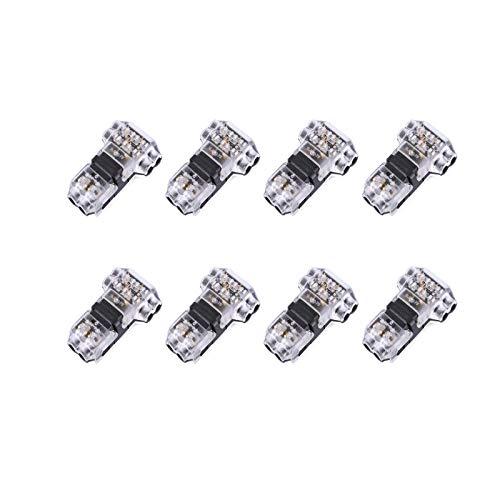 YUEMING 8 Piezas Conectores de Empalme Rápido en Forma T, Terminales de Cable Sin Soldadura de Bajo Voltaje de 2 Pines para Conexión de Alambre 20-22AWG Conector de Alambre Aislado