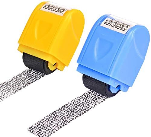 Ytesky 2 Stück Rollstempel für Identitätsdiebstahl, Datenschutz Rollstempel Camouflage,Textschwärzer, Camouflage Stempel für Privatsphären Normales Papier Vertraulichkeit Persönliche Daten