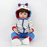 ZIYIUI 55 cm 22 Zoll Reborn Babypuppe Junge Realistische Reborn Baby Doll Boy Handgemacht Weichkörper Silikon öffnen Augen Neugeborenes Puppe Lebensecht Kinder Spielzeug Geschenke