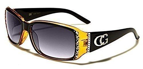 Womens c.g Fashion Celebrity Style occhiali da sole con diamante pietra design offrono protezione UVA/UVB disponibile in 6colori comprende nero completa di custodia, panno di pulizia e cordino Orange-Black Trans Frame \ Black Smoked Lenses M