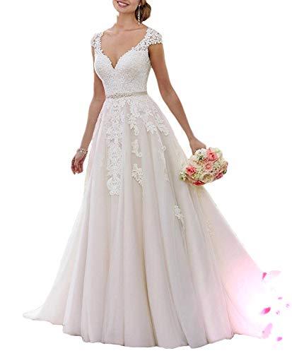 YASIOU Damen Brautkleid Lang Weiß Spitze A Linie Prinzessin Hochzeitskleid Plus Size