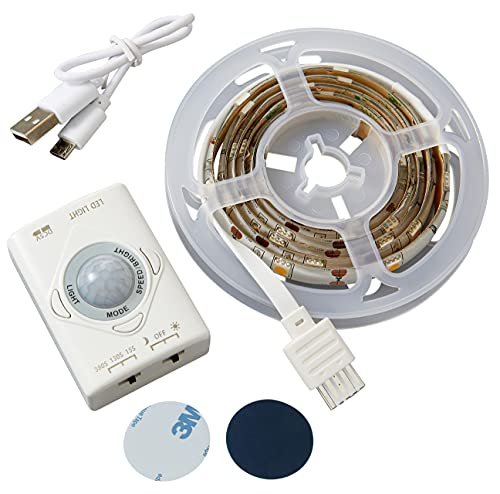 Northpoint LED Streifen Schranklicht 1m mit Bewegungsmelder aufladbar 150 Lumen Unterbauleuchte Bettbeleuchtung 1100mAh Akku warmweiße Lichtfarbe