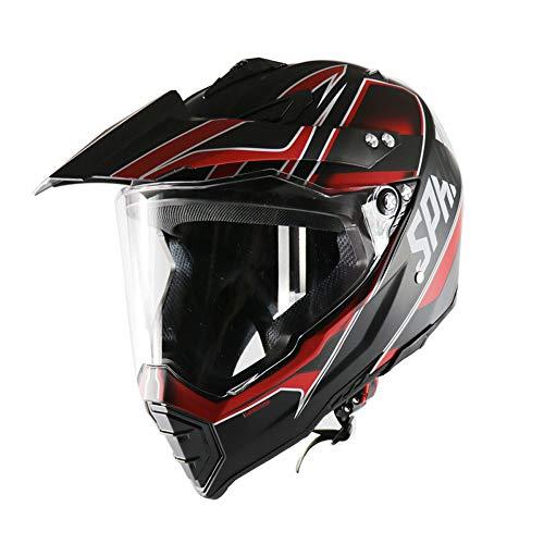 MOTUO Motorrad Cross Helm mit Klarem Visier Motorradhelm für Offroad Bike Mountainbike Roller,Rot,S
