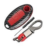 Happyit ABS Fibra de Carbon Cáscara + Silicona Funda para Llave de Coche Llavero para Nissan 350Z Qashqai J10 J11 X-Trail t31 t32 Patadas Tiida Pathfinder Murano Note Juke 3 Botones (Rojo)