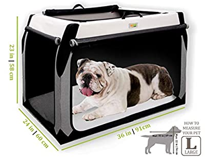 DogGoods Foldable Travel Kennel and Soft Dog Crate Collapsible Soft Sided XL Dog Crate, Folding Dog Kennel Dog Crates for Large Dogs XL Dogs Medium Dogs Small Dogs (L (Large), Gray and Beige)