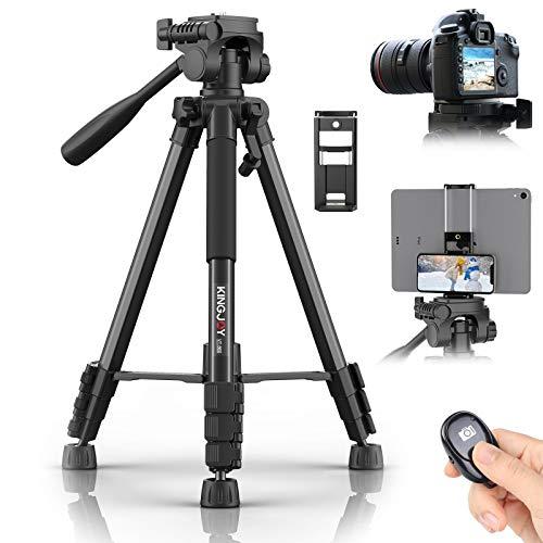 KINGJOY Trípode de cámara de 60 pulgadas para Canon Nikon de aluminio ligero, trípode de viaje DSLR con soporte 2 en 1 para teléfono y tableta, bolsa de transporte para obturador remoto