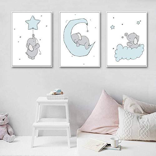 Générique Baby Nursery Wall Art Peinture sur Toile Bande Dessinée Affiches et Gravures Éléphant Lune Et Étoiles Photo Nordique Enfants Chambre Décoration 60x80cmX3 Pas d'image Cadre