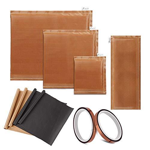 Paquete de 10 almohadas de prensa de calor AONESY - Incluye 4 almohadas de transferencia, 4 hojas de teflón y 2 rollos de cinta de transferencia de vinilo hojas de teflón para prensa de calor