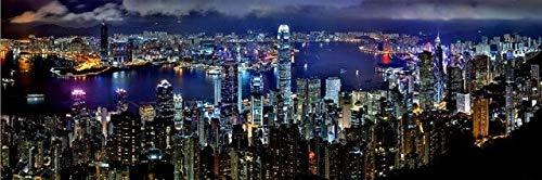 Kfbtbh Paisaje de la Ciudad de Hong Kong, Vista Nocturna, Mural, decoración del hogar, habitación Interior, Dormitorio Infantil, decoración de Pared, Arte en Lienzo (sin Marco) 40x80cm