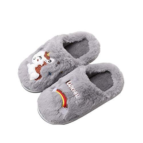 HausFine Zapatillas de Estar por Casa para Niñas Niños Invierno Zapatillas de Unicornio Interior Casa Caliente Pantuflas Suave Calentar Antideslizante Slippers (28-29 EU, Gris)