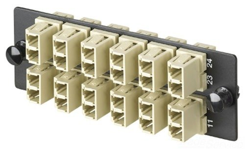 Panduit FAP12WEIDLC Multi-Mode 12-Port Fiber Adapter Panel with Phosphor Bronze Split Sleeve, Electric Ivory