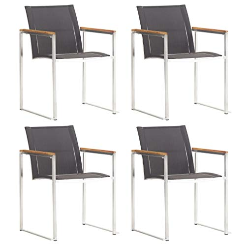 FAMIROSA Garden Chairs 4 pcs Textilene and Stainless Steel Grey-6516