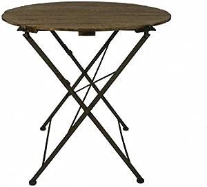 L'Héritier Du Temps L' Erede del Tempo tavola rotonda carrello pieghevole Console ausiliare interno esterno guéridon in legno e ferro 90x 90x 80cm