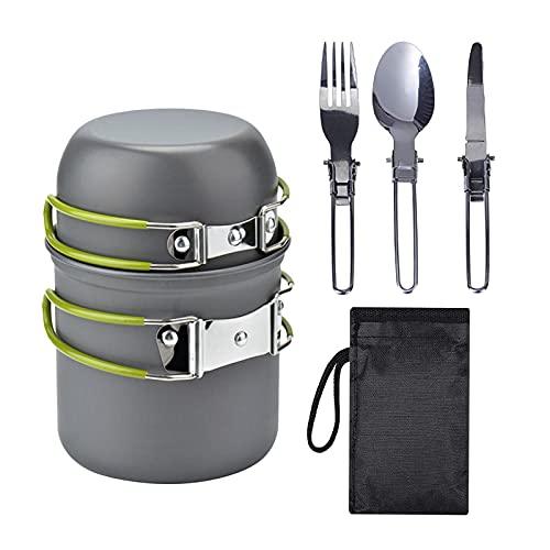 Perfeclan Juego de Utensilios de Cocina de Camping Ligeros, Juego de Utensilios de Cocina de Aluminio para 1-2 Personas, Cacerola de Utensilios de vajilla para - Verde