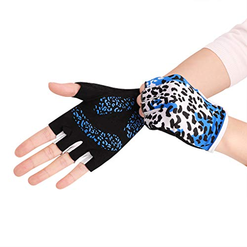 Fashion Leopard Workout Gloves for Women, Palm Padded Protection Gym Gloves for Yoga Body Building Training Fitness Exercise, Shock-Absorbing Non-Slip Grip Girls Driving Cycling Fingerless Gloves