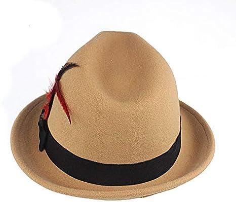 CHENGWJ Womens fedora Imitation Wool Feather Fedoras Hats For Women Men Manhattan Structured Gangster Trilby Bowler Jazz Hat