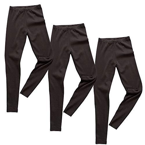 HERMKO 2720 3er Pack Kinder Legging aus Bio-Baumwolle, Farbe:schwarz, Größe:176