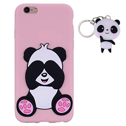 HopMore Panda Funda para iPhone 6S Plus/iPhone 6 Plus Silicona con Diseño 3D Divertidas Carcasa TPU Ultrafina Case Antigolpes Caso Protección Cover Dibujos Animados Gracioso con Llavero - Rosado
