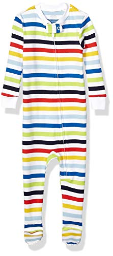 Amazon Essentials Baby and Toddler Zip-Front Footed Sleeper Infant Sleepers, Raya arcoíris,...
