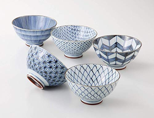Saikai Pottery Traiditional Japanese Rice Bowls (5 bowls set) 19541 [UJC Mart Japan Original Package]
