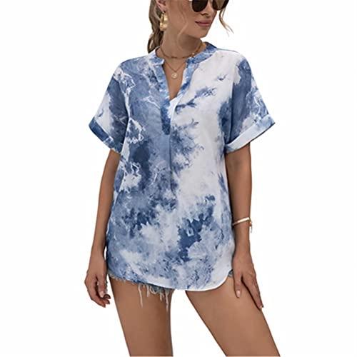ZFQQ Camisa de Gasa con Cuello en V y Estampado de teñido Anudado para Mujer de Verano