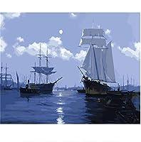 DIY数字油絵 塗り絵キット パズル油絵 海の白い帆 数字キットによる絵画 子ども塗り絵 手塗り デジタル油絵 ホームデコレーション 40x50cm(額縁なし)