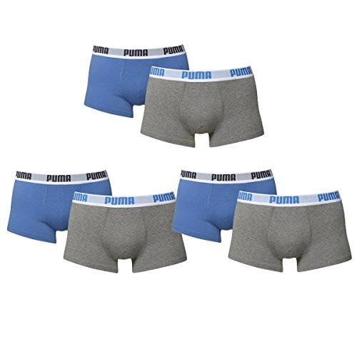 Puma Shortboxer Herren. 6er Pack kurzes Bein Trunk neue Kollektion 2015/16 (L / 50 - 6er Pack, blue / grey)