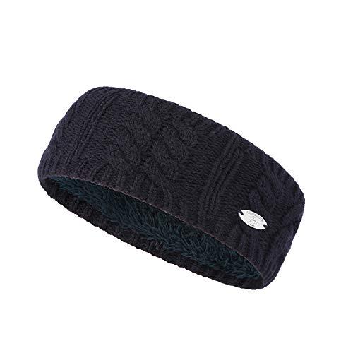 AnJuHoPa Damen Warme Ohrenschützer,Strickband mit Zopfmuster und weichem Fleece-Innenfutter Einheitsgröße 2 marineblaue (Warmer und verdickt).