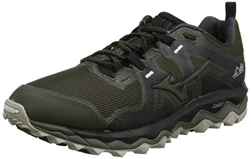 Mizuno Wave Mujin 6, Zapatillas de Trail Running Hombre, Noir Argent, 44.5 EU