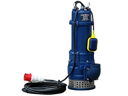 Rotek 3,0kW / 400V elektrische Schmutzwasser Tauchpumpe mit Schneidwerk, Stahlgehäuse und Saugkorb