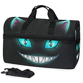 Oarencol Fantasy Scary Laugh Cat Face On Black Cheshire Halloween Travel Duffel Bag Overnight Weekender Bag with Shoes Compartment for Men Women