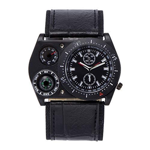 Relojes para Hombre Venta termómetro, brújula, Tiempo Dual, Reloj Militar de Cuarzo, Cuatro Opciones de Color, Material de Correa de PU, Relojes, adecuados para Regalos de cumpleaños,Black
