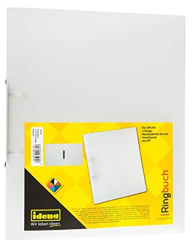 Idena 224335 - Ringbuch DIN A4, aus PP, 2 Ringe, 35 mm Rückenbreite, transparent, 1 Stück