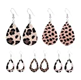 Tiande 5 Pair Faux Leather Earrings Set for Women Leopard Teardrop Leather Earrings Lightweight Teardrop Handmade Leaf Earrings