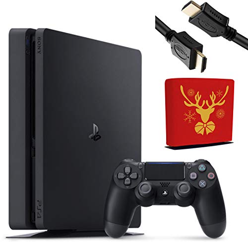 Sony Playstation 4 Console - 1TB Slim Edition Jet Black - with 1 DualShock 4 Wireless Controller - Family Christmas Holiday Gaming Bundle - iPuzzle Red Reindeer Dust Cover for PS4