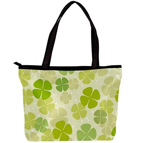 Xingruyun Handtasche Mode Damen Einkaufstasche Twill Stoff All-Match Damen Handtaschen Umhängetaschen für Damen Glücksklee grün 30x10.5x39cm