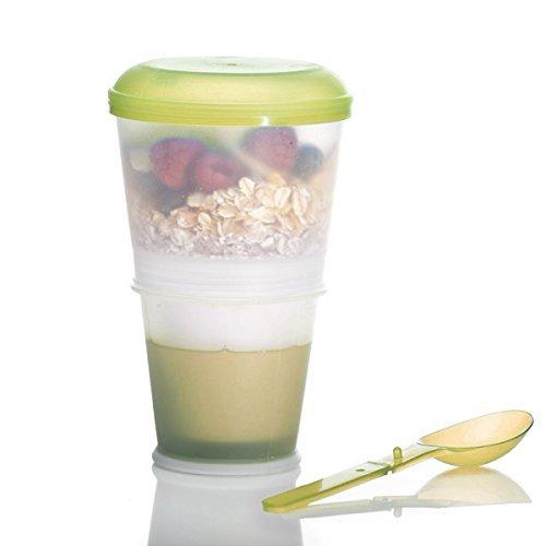 Goods & Gadgets mueslibeker 2-go muesli reisbeker met geïsoleerd melkkoelvak & lepel 2-go voor onderweg