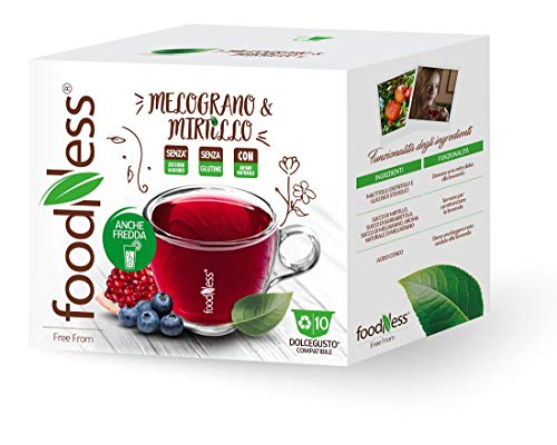 FoodNess - Capsula Tisana Mirtillo e Melograno compatibile Dolce Gusto bevanda senza glutine dal gusto aspro ed acidulo (1 box Tot. 10 Capsule)