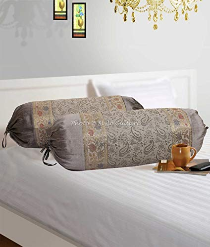 Stylo Culture Indian Polydupion Cylindrical Hotdog Pillow Bolster Pillow Covers Grey Paisley Jacquard Brocade Border Large Settee Cylinder Cushion Covers (Set of 2) | 30x15 Inches (76x38 cm)