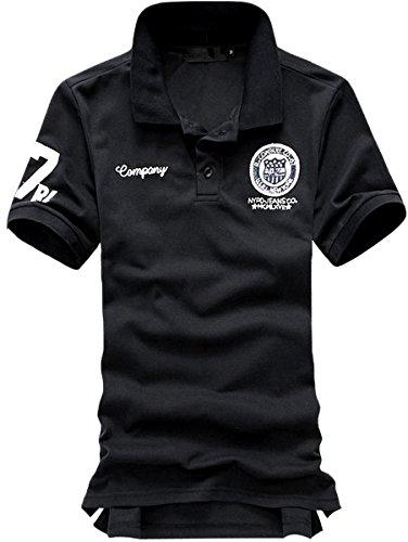 (ベクー)Bekoo メンズ ワンポイント ポロシャツ ワッペン 付き シンプル ゴルフウェア(ブラック・XXXL)