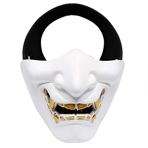 XDLH Halloween Lachen Prajnä Tactical Maske, COS Teufel Horror Grimasse Halbe Gesichtsmaske Für Männer Und Frauen Erwachsene, Abendkleid-Partei Geeignet Für Erwachsene Und Kinder,Weiß