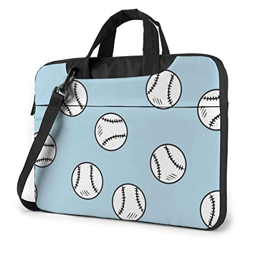 15.6″Lightweight Laptop Notebook Shoulder Backpack Bag Black and White Line of Baseball Ball Blue Waterproof PC Briefcase Messenger with Strap