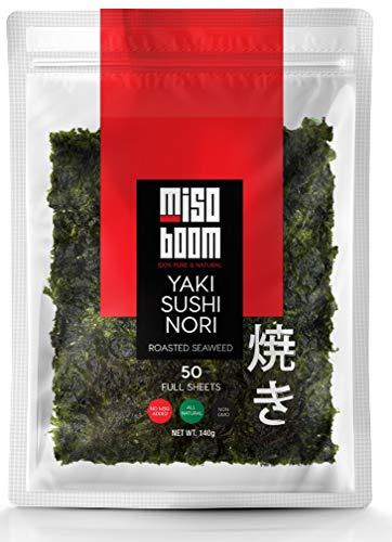 Sushi Seaweed Sheets, Yaki Nori Sheets for Sushi, Sushi Nori Seaweed Sheets, Seaweed for Sushi, Roasted Nori Seaweed Sheets, Sushi Wrap Seaweed. All Natural, Non-GMO. 50 Full Sheets.