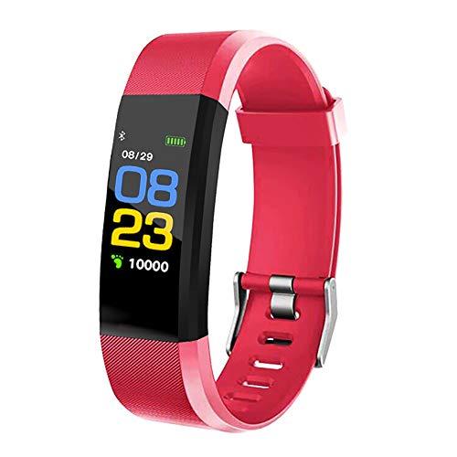 KawKaw Activity Fitness Tracker mit hochauflösendem OLED-Display, leichte und wasserdichte Fitnessuhr für Damen und Herren, mit Fitnesstracker, inkl. Blutdruckmessung (Rot)