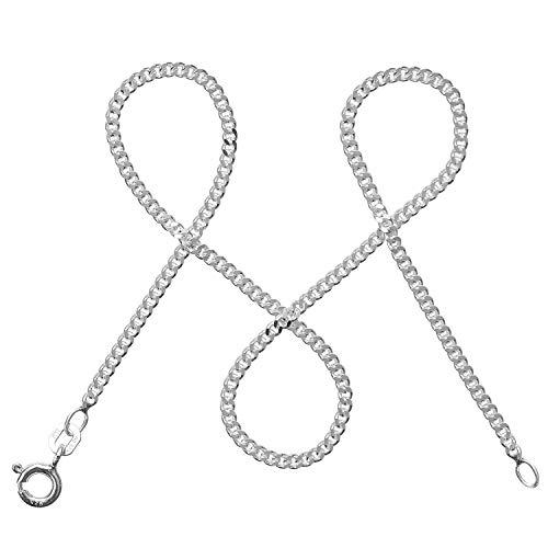modabilé Cadena de bordillo para damas de plata de ley 925 (2,1mm) SINCERE Collar 60cm: Cadena fina de plata sin colgante + Estuche de regalo I Hecho en Europa