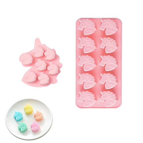 2er-Pack Einhornkopf-Silikonformschalen für Schokolade, Bonbons, Eiswürfel, Wackelpudding, Miniseife, Badebombe, Kuchenbacken, Harzkreide